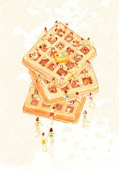Waffles illustration by Monica Ramos Art And Illustration, Food Illustrations, Graphic Design Illustration, Art Beat, Very Beautiful Images, Dorm Posters, Food Art, Illustrators, Design Art