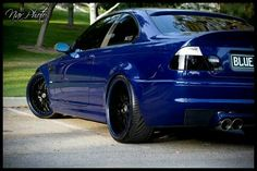 BMW E46 M3 blue with black rims