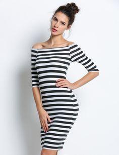 1ab340151ef2 Stripe Highlight Contour Dress. Vestido BodyconBodycon DressDress SkirtLadies  FashionWomens FashionFashion BeautyOff Shoulder DressesOff The ShoulderNice  ...