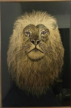 details about lion head reverse painting art on black glass framed 36 x 24 nice