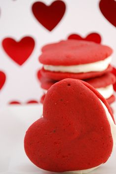 Red Velvet Whoopie Pies, heart shape for Valentines Day! cute!