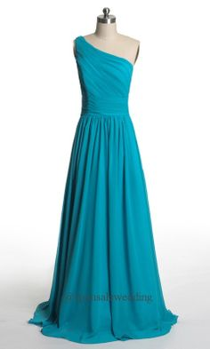 Long Blue Bridesmaid Dress One Shoulder 2014