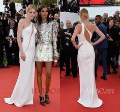 2015 68th Cannes Film Festival Doutzen Kroes Celebrity Dresses Fashionable One Shoulder Slim White Vestidos de festa