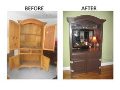 Tv armoire cabinet cabinet pictures of old turned into bars share convert t Built In Tv Cabinet, Oak Tv Cabinet, Tv Cabinets, Liquor Cabinet, Armoire Redo, Armoire Bar, Diy Furniture Projects, Furniture Makeover, Bar Furniture