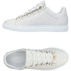 Balenciaga Sneakers (1.625 RON) ❤ liked on Polyvore featuring shoes, sneakers, ivory, leather sneakers, animal trainer, balenciaga trainers, ivory shoes and flat sneakers
