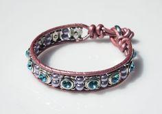Swarovski Crystal Wrap Bracelet  Blue by crystalglowdesign on Etsy