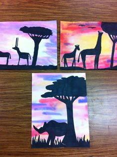 African painting Use rhino's and other african animals/trees/grass die cut in black let kids water color on paper then glue black items onto paper. Drip, Drip, Splatter Splash: February 2013