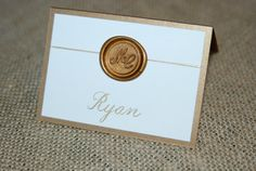Double backed Place Cards with Wax Seal - Ivory or White on Gold or Silver Fold Over Card with Gold or Silver Wax Seal on Etsy, $2.50