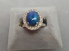 14K GOLD RING WITH LARGE 3.45CT GENUINE NATURAL BLACK OPAL AND DIAMONDS (#631)