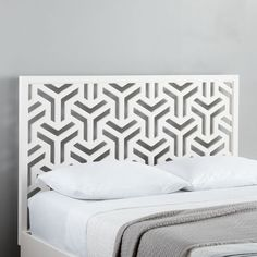 The perforated design of our tile-inspired Lattice Headboard lets wallpapered or painted walls peek through, for added depth and dimension in the bedroom. Full Headboard, Modern Headboard, White Headboard, Headboard Designs, Headboards For Beds, Headboard Ideas, Geometric Furniture, Modern Furniture, Furniture Design
