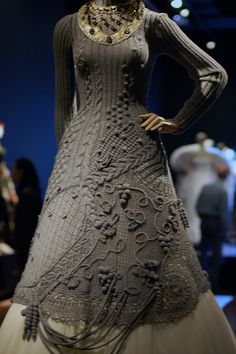nit crochet dress - front John Paul Gaultier Exhibit at the De Young Museum in SF Take some ideas for the elements of the dress. Not that much, of course. Jean Paul Gaultier, Black Crochet Dress, Knit Dress, Knit Fashion, Fashion Outfits, Knitting Designs, Crochet Clothes, Crochet Dresses, Pulls
