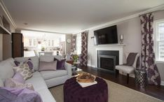 Property Brothers - Adam & Julie Gray Couches purple accent