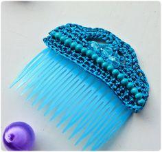 Peineta tejida al crochet modelo Esperanza  Hair por AmapolasMoras
