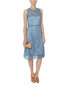 Blue Ophelia Cotton Lace Dress | Elie Tahari | Halsbrook