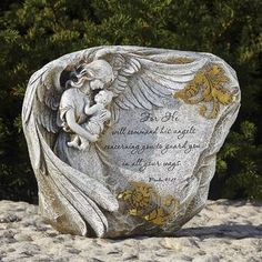 Angel Garden Statues, Garden Angels, Life Size Statues, Memorial Stones, Holding Flowers, Baby Memories, Garden Stones, Lawn And Garden, Cemetery