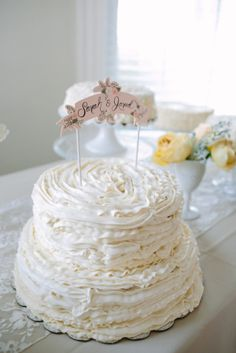 Ruffled Icing Wedding Cake | photography by http://portfolio.shiprapanosian.com