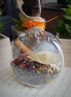 New Home Blessing Ornament - Witch Ball - Herbal Blessing - Yule Decor - House Protection Spell - Tree Ornament - Wiccan - Pagan Clear Ornaments, How To Make Ornaments, Homemade Ornaments, Herbal Witch, Pagan Witch, Witches, Spiritual Decor, Wiccan Decor, Kitchen Witch
