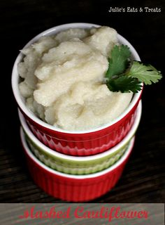 Mashed Cauliflower ~ Easy, healthy version to replace mashed potatoes! via www.julieseatsandtreats.com