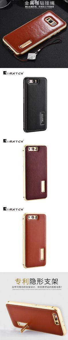 Original iMatch Genuine Leather Case For Huawei P10 P10 Plus Luxury Aluminum Metal Hard Bumper Cover Case Kickstand Phone Cases