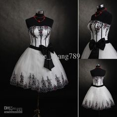 short black and white wedding dress-make the black turquoise and I will be happy!