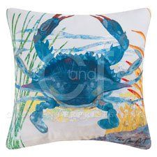 The blue crab design on this C and F Enterprises 18-in. Square Indoor & Outdoor Pillow - Blue Crab is an original from Two Can Art.