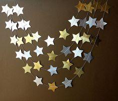 Gold & Silver garland Gold star garland by TransparentEsDecor