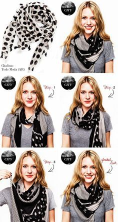 Mirame & Vestite: Cómo usar: chalinas y bufandas Tying A Scarf, Scarf Tying Tutorial, Scarfs Tying, Scarf Knots, Scarf Wrap, Ways To Wear Scarves, Wearing Scarves, Silk Scarves, Scarf Ideas