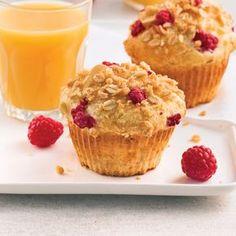 Raspberry and yogurt muffins - Caty& recipes Yogurt Muffins, Healthy Muffins, Breakfast Healthy, Muffin Bread, Cupcakes, Croissants, Rice Krispie Treats, Snacks, Coffee Cake