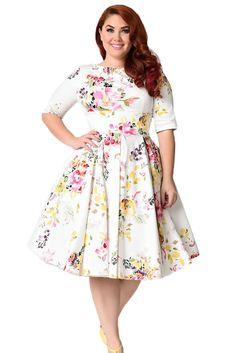 8f2eaeee9de White Vintage Style Floral Half Sleeve Swing Dress