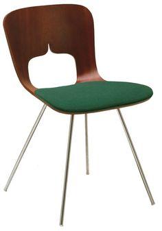 Sori Yanagi; Molded Plywood and Chromed Metal 'Yanagi Shell Chair' for Tendo, 1950s.