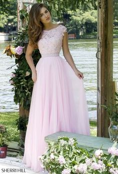 f5515a68f34f 2016 Cheap Lace Pink Prom Dress Outlet Sleeved V-back Beaded Sherri Hill  50041 [Pink Sherri Hill .