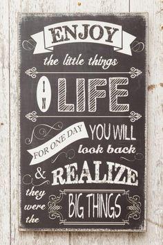 Enjoy The Little Things Chalkboard Sign