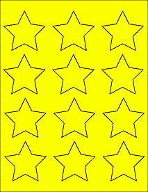 "True Yellow - Star Labels - Star Stickers  for laser and inkjet printers. 2.3758"" x 2.2601"""