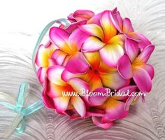 pulmeria kissing balls | kissing ball (pomander) made of real touch Plumerias in pink ...