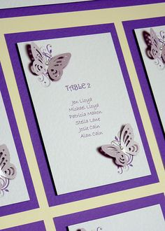 Close up of Butterfly & Floral table plan with tables mounted onto a Cadbury Purple border