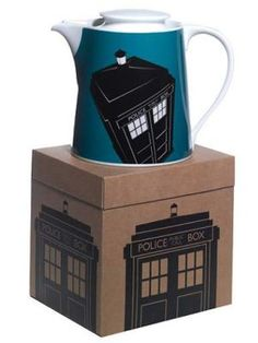 Tardis and Darlek Teapots.  The teapots are part of an official range of merchandise from the BBC as seen on Retro to Go