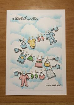 Lawn Fawn Little Bundle baby card. A5 size so lots of room for people to write in.
