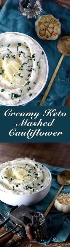 My PCOS Kitchen - Creamy Keto Mashed Cauliflower - This mashed fauxtato is so creamy, buttery and filled with roasted garlic! You won't even miss potatoes with this! via @mypcoskitchen