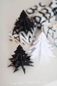 Origami-Weihnachtsbäume mit Link zu Anleitung