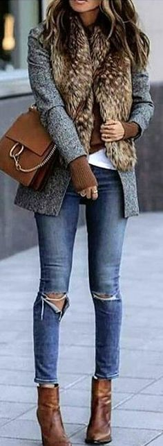 #winter #outfits  grey blazer and blue-washed skinny jeans