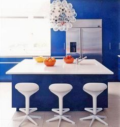 Kitchen with blue wall paint
