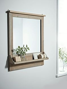 NEW Rustic Wooden Shelf Mirror