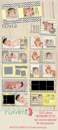 PSD 12x12 album newborn  photoshop van YummiPhotoshopDesign op Etsy