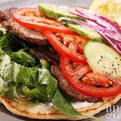 To give these gyros their signature crispiness, refrigerate the meat after baking and then saute before serving. And don't forget to top with your favorite fresh veggies!