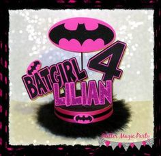 Batgirl Centerpiece Personalized with Name and Age - Batgirl Inspired Party