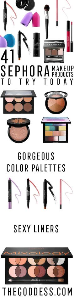 Sephora Makeup Products To Try Today - These Are The Best Sephora Makeup Products, Cosmetics, And Make Up Ideas That You Need To Try Today. These Ideas Cover Eyes, Lipsticks, Foundation, Brush Sets and Eyes. They Work For Different Faces, And Cover Brush Set Ideas and Lip Balm As Well. Use These Products For Blue Eyes, Brown Eyes, and Green Eyes Or For Blonde Hair Or Brunettes. Make Sure Your Eyebrows and Eyeliner Work Together! - thegoddess.com/sephora-makeup-products