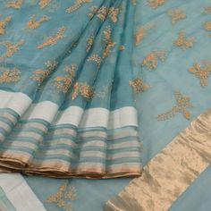 Embroidered Blue Organza Fancy Saree With Sequin Work & Floral Motifs 10013254 - AVISHYA.COM
