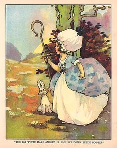 Vintage Bo Peep and White Rabbit (by Agnes Richardson?) via Etsy. Vintage Children's Books, Vintage Postcards, Vintage Cards, Little Bo Peep, Rabbit Art, Illustration Art, Vintage Illustrations, Beautiful Patterns, Nursery Rhymes