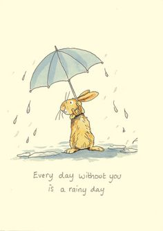***M164 EVERYDAY WITHOUT YOU IS A RAINY DAY a Two Bad Mice Greeting Card by Anita Jeram