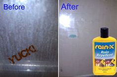 CLEANING   SHOWER :: Rain-X?? Brilliant!! 6+ months of soap-scum-free shower doors! Don't use it on the floors though as they might become slippery...but I'm going to try this on tile and see if it works! Household Cleaning Tips, Cleaning Recipes, House Cleaning Tips, Spring Cleaning, Cleaning Hacks, Diy Hacks, Cleaning Shower Glass, Bathroom Cleaning, Clean Shower Doors